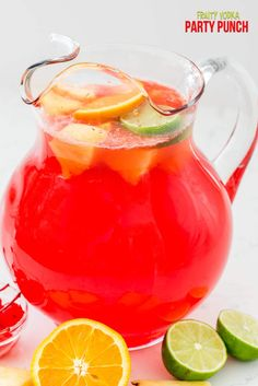 alcohol punch recipes Fruity Vodka Party Punch is the perfect cocktail recipe for a party! This drink is full of lemonade and fruit punch, rum, and vodka and is the perfect easy p Punch Recipe For A Crowd, Cocktail Recipes For A Crowd, Easy Punch Recipes, Food For A Crowd, Spiked Punch Recipes, Adult Punch Recipes, Party Recipes, Salad Recipes, Cocktails Vodka