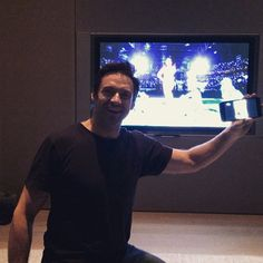 """Pin for Later: Stars Share Their Super Bowl Spirit in Fun Social Snaps  Hugh Jackman cheered for Katy Perry during her halftime performance. """"@katyperry NAILED IT. Awesome job! @Patriots @Seahawks #2ndHalf,"""" he wrote."""