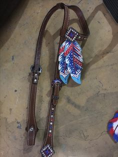 red white and blue head stall (absolutely love the feather accents!)