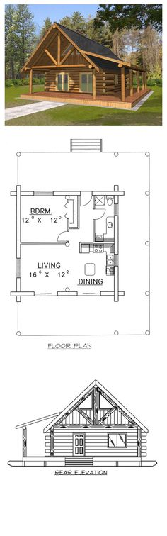 Log Home Plan 87050 | Total Living Area: 689 sq. ft., 1 bedroom & 1 bathroom. #loghouse #houseplan