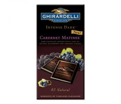 "My new favorite: ""The luxuriously deep and velvety dark chocolate in Cabernet Matinee™ is infused with the tart flavor of blackberries and Cabernet Sauvignon grapes delivering unrivaled chocolate intensity. Experience a moment of timeless pleasure with Ghirardelli's all natural Intense Dark™ chocolate."""