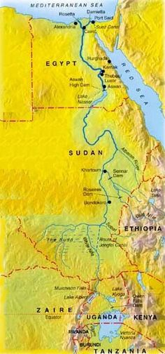-the Nile River is the longest river in the world.  Unlike most rivers which flow south, the Nile River flows north:ceeanne.