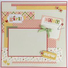 Bebé niña Scrapbook página Kit o prefabricado por ArtsyAlbums