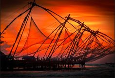 Fishing nets sunset #India