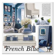 """""""French Blue"""" by ayelmaoki ❤ liked on Polyvore featuring interior, interiors, interior design, home, home decor, interior decorating, Gus* Modern, Nina Kullberg, Lacefield Designs and WALL"""