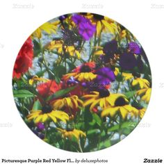 Picturesque Purple Red Yellow Flowers Round Plate