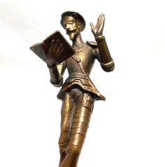 Don Quixote bronze statue figurine 7  tall  1950's by Miltiadis