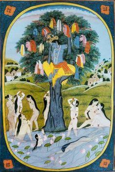 krishna Vastra Haran - Krishna Stealing Gopis Clothes. 1825 Kangra, Carter Burden Collection (via Twitter: @dpanikkar)