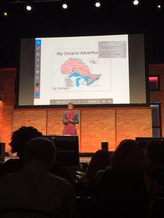 Carl Hooker @mrhooker @cordym sharing how she uses @explainevrythng during her closing keynote #ISTE2016