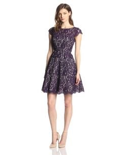 Eliza J Women's Cap-Sleeve Lace Fit-and-Flare Party Dress - http://dressfitme.com/fashion/eliza-j-womens-cap-sleeve-lace-fit-and-flare-party-dress/