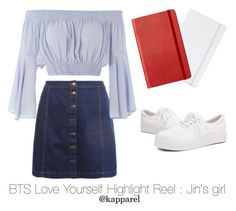 """BTS Love Yourself Highlight Reel : Jin's girl"" by kapparel ❤ liked on Polyvore featuring poppin., New Look, Topshop and Moleskine"