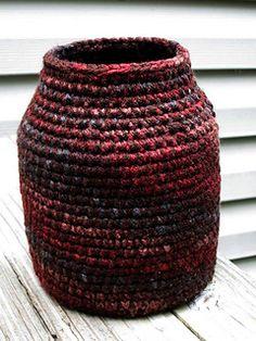 Earth Tone Crochet Vase free instructions by Marilyn Smith