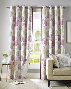 Pink, Green, Grey and Cream Floral Curtain Pair Contemporary Design Fully Lined Eyelet Header, 117 x 183 cm x by Homescapes Floral Curtains, Guest Bedrooms, Girl Nursery, Contemporary Design, Header, Grey, Amazon, Home Decor, Pai