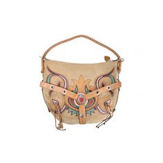 Luella Bartley Tan Suede Multicolor Leather Western Bag