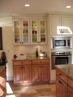 Two Colored Kitchen Cabinets Cherry Wood Lower And Painted Uppers