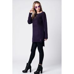 Purple Knit Longline Oversize Sweater with Boat Neck and Side Split