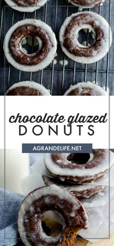 These classic glazed chocolate donuts are easy to make at home! Light and fluffy with a ton of chocolate flavor! #recipe #donut #donuts