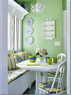 This one is cottage crisp in every detail. I like how you could use the bench for storage too!