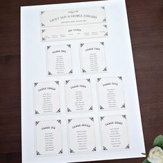 Sarah Alexis Stationery: Vintage Script Seating/Table Plan in Black and Cream