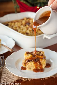This easy gluten free eggnog bread pudding with bourbon caramel sauce is perfect for the holidays. It makes a custardyholiday dessert or breakfast!