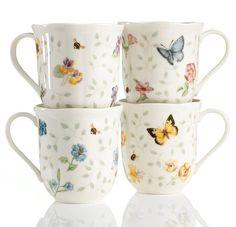 Lenox Dinnerware, Set of 4 Butterfly Meadow Petite Assorted Mugs