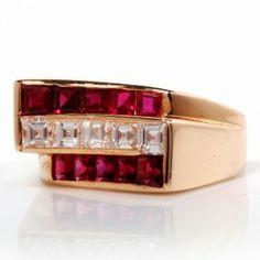 Oscar Heyman 4.25CT Diamond Ruby 18K Gold Ring   Dover Jewelry