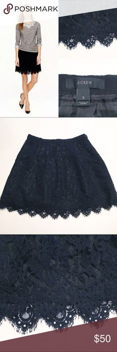 J Crew Navy Lace Skirt Adorable navy blue mini skirt with scalloped hem. Zips in back. EEUC no sign of wear J. Crew Skirts Mini
