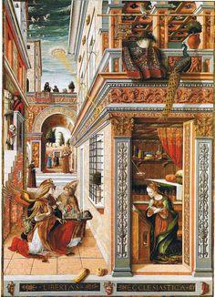 Carlo Crivelli, L'annonciation avec Saint Emidius, 1486 Dans ce tableau, on peut clairement voir un OVNI qui lance un rayon sur la tête de la Sainte Vierge. La peinture représente une scène qui a lieu quelques instants avant que celle-ci soit enlevée par les extraterrestres et fertilisée pour être ensuite ramenée sur Terre et donner naissance à Jésus.