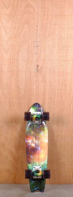 "Globe Prebuilt 23"" Bantam ST Galaxy Skateboard Complete- and look at dem wheels"