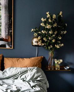 The Lovely Home of a Swedish Photographer and Stylist - Halftowngirl - The Lovely Home of a Swedish Photographer and Stylist Dark blue walls in the Lovely Home of Swedish Photographer and Stylist Johanna Hagbard - Blue Bedroom Decor, Blue Wall Decor, Bedroom Orange, Bedroom Ideas, Bedroom Boys, Bedroom Dressers, Design Bedroom, Bedroom Colors, Bedroom Furniture
