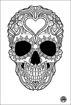 tatouage simple skull tattoo image with heart skull death - Cinco De Mayo Skull Coloring Pages