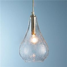 Glass Bulb Pendant - Clear Crackled or Mercury Glass. Teardrop glass shape comes in silver mercury, or clear crackle glass. Glass Pendant Shades, Glass Pendant Light, Glass Pendants, Glass Shades, Pendant Lighting, Chandelier Shades, Globe Pendant, Kitchen Pendants, Glass Kitchen