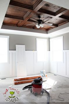 DIY ceiling - this is something I find insanely wonderful about the USA - that people DIY stuff like this in their own houses. NO ONE here would dare!    http://andrewrachelashmore.blogspot.com/2012/04/master-bedroom-wood-ceiling-diy.html