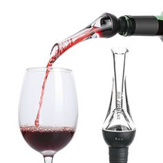 Zestkit Wine Aerator Pourer - Premium Aerating Pourer Red and White Wine Breather Decanter Spout Black >>> Click image to review more details.