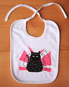 baby bib organic CrazyCat hand screen printed by outofofficeshop, €8.00