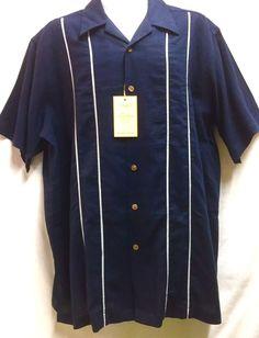 Haggar Men's Short Sleeve Button Front Shirt XL Navy Blue Washable Linen NEW #Haggar #ButtonFront