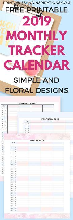 2019 monthly planner calendar FREE printable planner insert Get