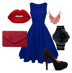 women fashion red and blue by dianka-donutek-jasanska on Polyvore featuring Dorothy Perkins, HUBLOT, Alexa Starr and Lime Crime