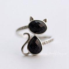 black cat ring,Sterling Silver cat ring,zirconia cat ring,adjustable cat ring
