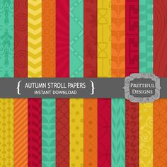 Fall Digital Paper Pack Teal Orange Crimson Gold - Personal and Commercial Use - Autumn Stroll (761)