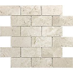 Silver Travertine 2 X 4 Brick Mosaic Tile, Tumbled X Sample)