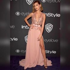 Beauty @haileybaldwin in ELIE SAAB Ready-to-Wear Spring Summer 2017 at the 18th Annual Post-Golden Globes Party #GoldenGlobes