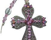 Mothers Day CROSS Pink OOAK Spring  Silver by BlingThingsOriginals, $25.00