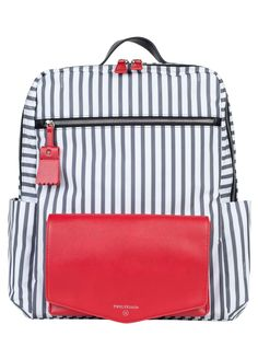 Peek-A-Boo Backpack in Stripe/Red - Designed for style-savvy moms, our Peek-A-Boo Backpack can be used during the diapering stage and beyond. Nursing Pads, Backpack Reviews, Diaper Bag Backpack, Everyday Bag, Baby Design, Peek A Boos, Shoulder Pads, Grey Stripes, Vegan Leather