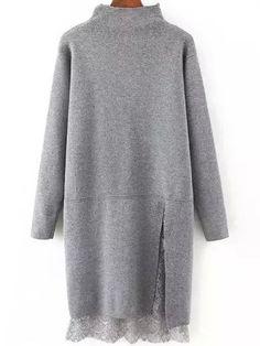 High+Neck+Lace+Insert+Slit+Grey+Jersey+Dress+28.96