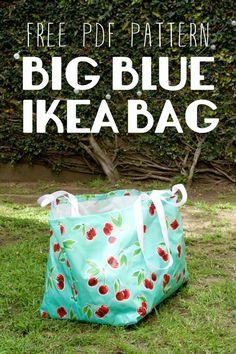 Free PDF Sewing Pattern – Big Blue Ikea Bag Miss Make: Patron de couture PDF gratuit – Grand sac Ikea bleu Sewing Basics, Sewing Hacks, Sewing Tutorials, Sewing Crafts, Sewing Projects, Sewing Tips, Diy Projects, Bag Tutorials, Sewing Lessons
