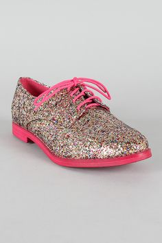 Glitter Lace Up Oxford Flat
