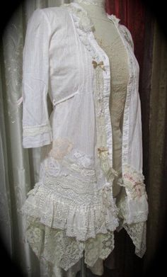 Romantic Shabby Blouse, shabby lagenlook lace victorian chic white cotton refashioned clothing, beaded lacy appliques SMALL