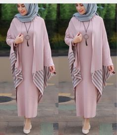 Örme Hijab Gown, Hijab Style Dress, Hijab Chic, Hijab Outfit, Abaya Fashion, Modest Fashion, Fashion Outfits, Moslem Fashion, Mode Abaya