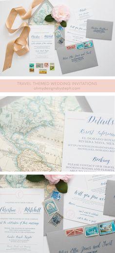Travel Themed Wedding Map Invitation with metallic envelope liner